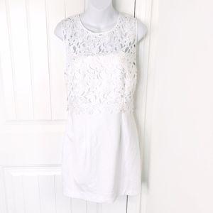 Forever 21 Cream Crochet Lace Mini Shift Dress L